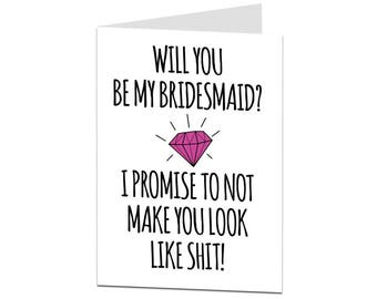 Will You Be My Bridesmaid Card? Funny Will You Be My Bridesmaid Card. Bridesmaid Card. Alternative Quirky Bridesmaid Card