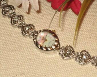 Vanity Fair Vintage Bracelet, MOP Color Oval Face, Filigree Heart Bracelet, Silver