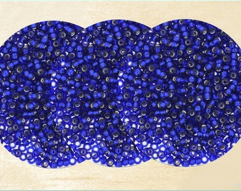 Miyuki Seed Beads 8/0, Set of 350, Cobalt Blue Silver-Lined Beads, Round beads, Jewelry Findings