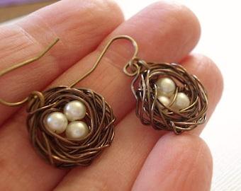 Bird Nest Earrings Brass Nest Earrings Pearl Earrings Spring Earrings Bird Nest Earrings Wire Egg Nest Earrings Jewelry