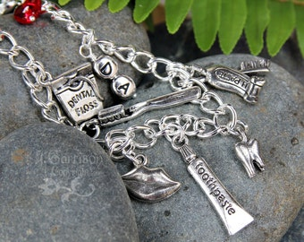 Dental Silver Charm Bracelet - toothpaste, toothbrush, tooth, smile, floss, mirror, DA or DDS & heart on chunky chain