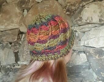 READY TO SHIP Autumn Crochet Beanie Hat, Gifts for Her, Crochet Fall Toboggan, Women Winter Hat, Earthy Colorful Women's Hat, Winter Cap