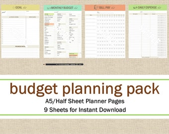 Budget Planning Half Size 8.5 x 5.5 Planner Pages, Meal Planning Printable Planner Pack: Day Planner, Food Planner, Instant Download