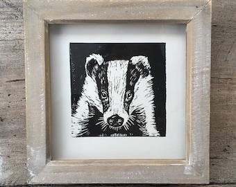 Framed Handprinted Linocut Badger Print