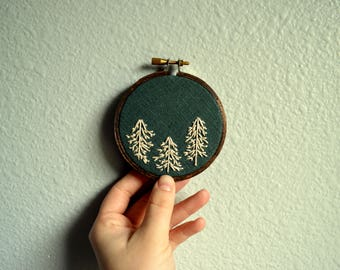 Pine Trees Embroidery Hoop, Forest Hoop Art, Small Wall Hanging, Nursery Decor, Minimalist Wall Art, Wall Hanging, Housewarming, Green