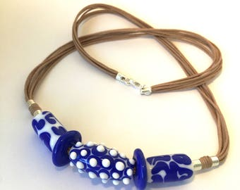 Blue and white lampwork necklace.  Beaded glass necklace.  Handmade mediterranean style necklace.  Lampwork jewelry. Glass jewelry.