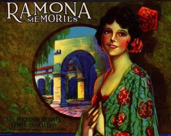 Ramona Memories Lemons Crate Label