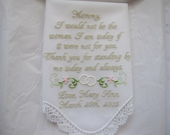 Mother of the Bride Personalized Wedding Handkerchief with Hand Cricheted Corner Lace Trim