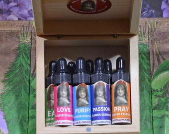 MAGIC POTIONS KIT | {8} Healing Gypsy Garden Grown Flower Essences in one dram vials | Eco-Packaged in One Wooden Box| Girl Gift| Valentines