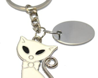 Engraved / personalised metal Siamese white cat keyring velvet gift pouch AA70