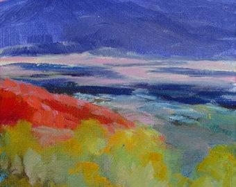 Pedernal Evening 7x5 plein air oil New Mexico