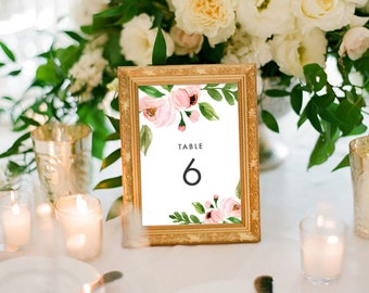 Modern Blush Floral Table Numbers (Printable) DIY by Vintage Sweet
