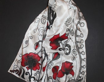71-17 in Hand painted poppy scarf, Long silk satin scarf, White red black scarf