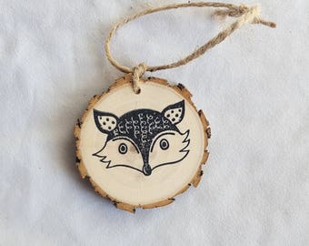 Fox wood slice christmas ornament