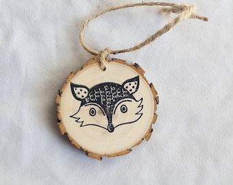 Fox wood slice christmas ornament