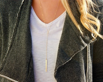 Long Bar Lariat Necklace / Gold Bar Lariat / Gold Bar Drop Necklace / Long Layering Necklace / Y Necklace / Gold Bar Y Necklace / 14K Gf