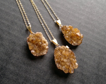 Citrine Necklace Citrine Druzy Pendant Citrine Crystal Citrine Jewelry Citrine Cluster Crystal Gold Dipped Stone November Birthstone Boho