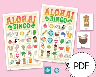 Aloha Luau Hawaii Bingo Game Kit–Printable PDF Download