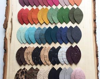 Cork Earrings - Petal Shape - 31 color options - Leather Earrings Alternative - Eco-Friendly - Vegan