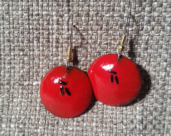 Orient red enamel on copper round domed earrings, dramatic