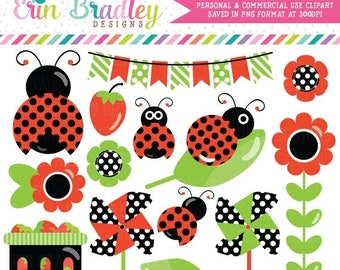 80% OFF SALE Ladybug Clipart Graphics with Strawberries Bunting Pinwheels Commercial Use Clip Art
