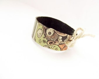 Paper bracelet, cuff bracelet, wrap bracelet, faux leather bracelet, upcycled bracelet, funky jewelry, unusual illustration bracelet, geeky