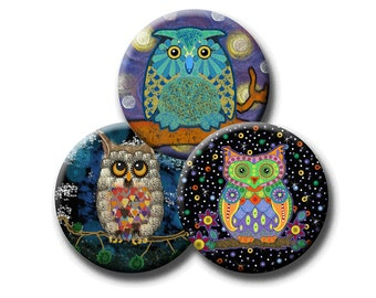 NIGHT OWLS -  Digital Collage Sheet - 1.837 inch round images for 1.5 inch buttons. Instant Download #214.