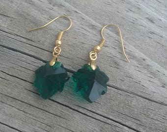 Green Faceted Crystal Maple Leaf French Hook Earrings