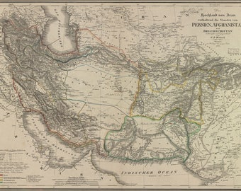 Poster, Many Sizes Available; Map Of Iran Persia Afghanistan Baluchistan 1846