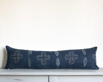 Authentic Vintage Hmong Indigo Batik Pillow Cover/PALAU 34 x 10