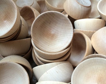 3 Wood Bowls - Ring Bowls - Wooden Egg Holder - Small Planter - 2.5 x 1.29 Inch - Holiday Wedding Home Decor Craft Party Supplies