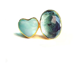 Green Amethyst and a Aventurine heart Ring, green amethyst ring, aventurine ring, natural stone ring, heart ring, precious stone ring