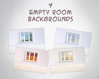 4 Empty Room Backgrounds / Backdrops with windows, High Resolution, Instant Download.