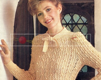 Lady's Lacy Sweater 32-40in 4ply Patons 1993 Vintage Knitting Pattern PDF instant download
