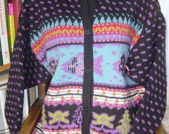 """Vintage 80's French Connection Wool Fish Design Cardigan Large Bust up to 46"""""""