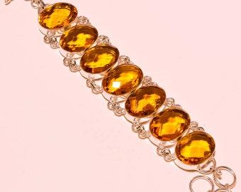"Golden  Topaz Gemstone.925 Sterling Silver Bracelet 7.8 "" Jewellery"