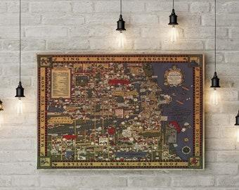 Chicago Gangland Prohibition Era Decorative Map, Al Capone Chicago, Custom Raised Canvas Art Piece