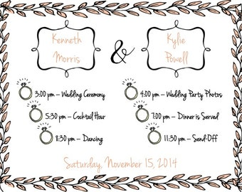 PRINTABLE Wedding Weekend Itinerary PINK LEAVES - Any Color Font! - Custom Printable, Various Sizes