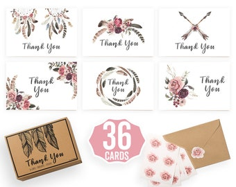 36 Wedding Thank You Cards | Rustic Bridal Shower | Boho Baby Shower | 36 Floral Blank Note Cards, Sticker + Kraft Envelope - 4 x 6 inches