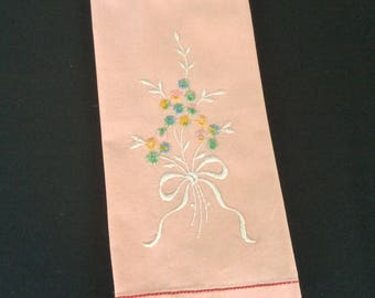 Vintage Linen Tea Towel  Ribbon, Bow and Flowers embroidery Guest Towels Hostess Gift