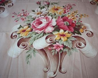 Pretty Pink Floral Fabric,  Puritan Print, Athens Pattern, Vintage Bloomingdale's, Remnant