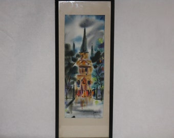 Vintage original watercolor ink painting church cathedral signed framed