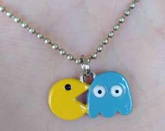 Blue Pac - Man pendant necklace