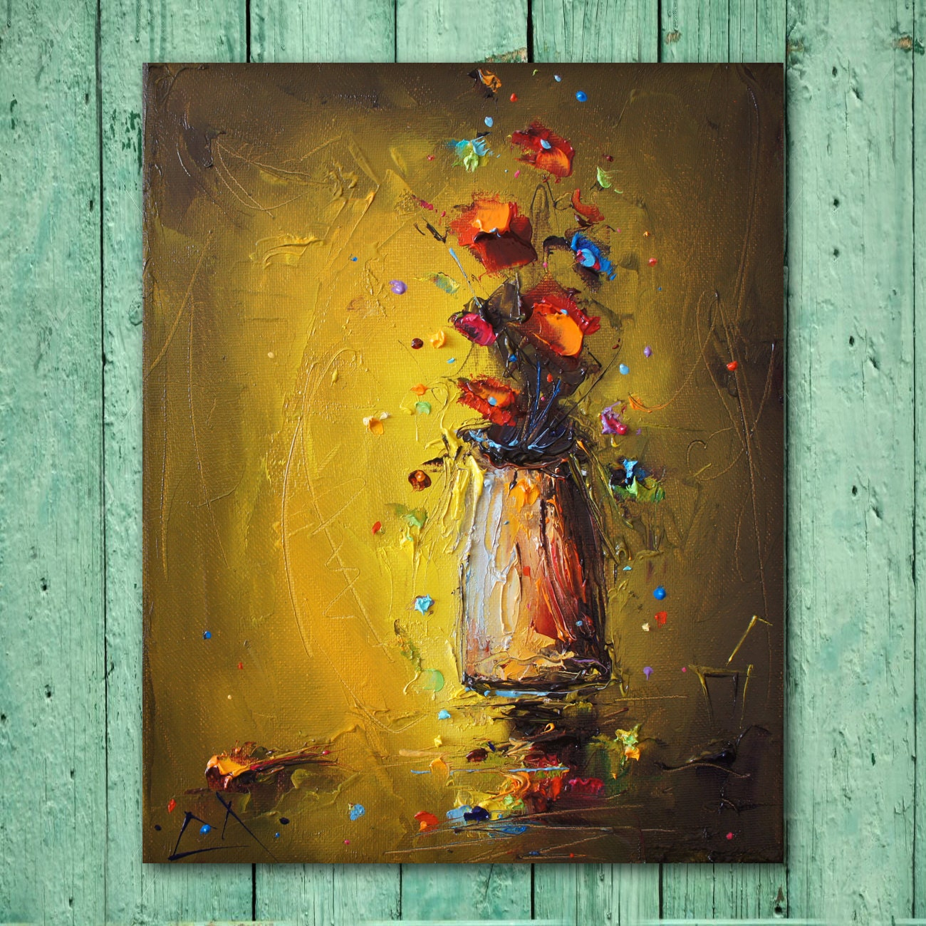Original Art Floral Painting Abstract Canvas Painting Wall