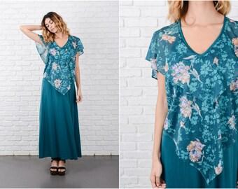 Teal Tiered Maxi Dress Vintage 70s Boho Hippie Floral Print Large L 8182 teal dress tiered dress vintage dress hippie dress floral dress