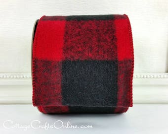 """Wired Ribbon, 4"""", Red and Black Flannel Buffalo Plaid - FIFTY YARDS - d Stevens """"Jumbo Buffalo Red"""" Check Wire Edged Ribbon"""