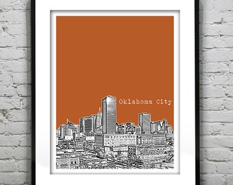 Etsy Birthday 20% Off Sale - Oklahoma City Oklahoma Skyline Poster Art Print OK Image Version 3