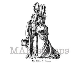 Wedding rubber stamp / Bride and Groom as rabbits / Unmounted rubber stamp (130607)