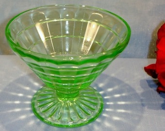 Block Optic by Anchor Hocking Green Depression Glass Sherbet, cone