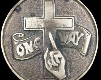 Vintage One Way Jesus Christ Christian Religious Cross Believer Brass Belt Buckle